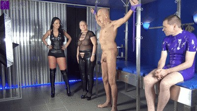 Praying Mantis! Extreme FemDom with Luciana and Rosella! Slave had to milk a slave's cock with his mouth!