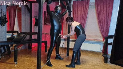 Ballbusting and caning session