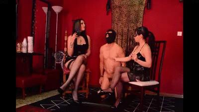 Mistress Valkiria and Mistress Astarte use the slave as an ashtray! - Smartphone resolution