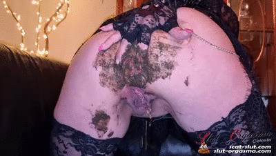 Scat Slut-Orgasma Celeste pooping smearing and swallowing