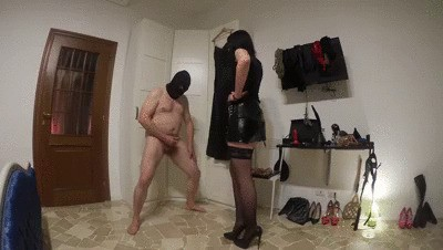 'Castrating-action in sexy black stockings' - High resolution