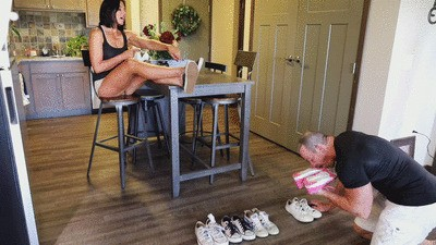 Grimy sneakers and smelly foot humiliation