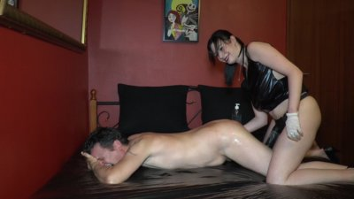 Strapon fuck with new slave