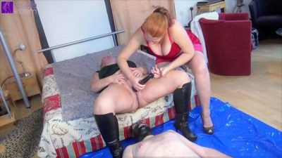 And squirted the next slave, my pussy juice, in the mouth! FemDom threesome!