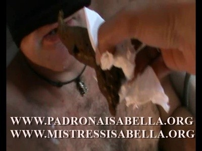 206.2 Mistr. Isabella Scat and pee on Cocco slave, plus smoking turd!!!!