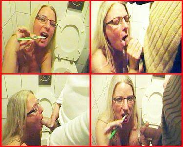 Kink: Public in men's room, brushing teeth with sperm!
