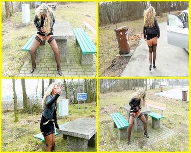 Outdoor Public peeing on a rest area!