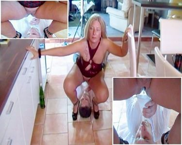 Slave with a hopper filled with piss!