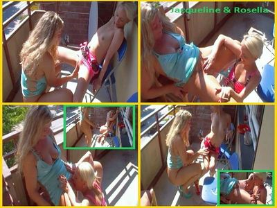 Jacqueline and Rosella: Lesbo piss depravities and mutual pussy licking on the balcony!