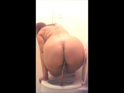 White Granny Panties. Back View Shit Over Toilet