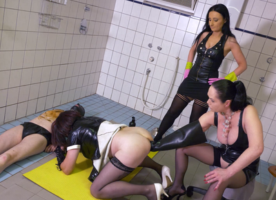 Two Dominas And A Toiletslave - Part 2