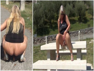 Horny public pissing and shitting on a viewing platform in Italy!