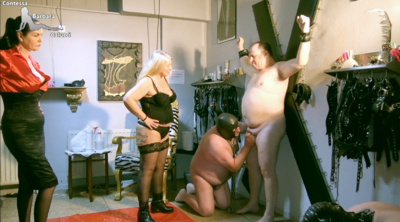 Slave made by mistresses to blow cock