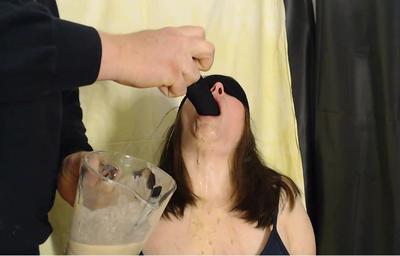 Feeding slavegirl with slave-food