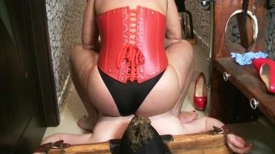 Goddess Andreea secured her toilet then feeding him