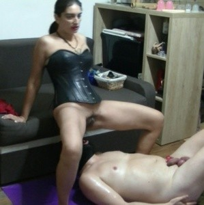 Mistress Roberta CBT and enema in throat